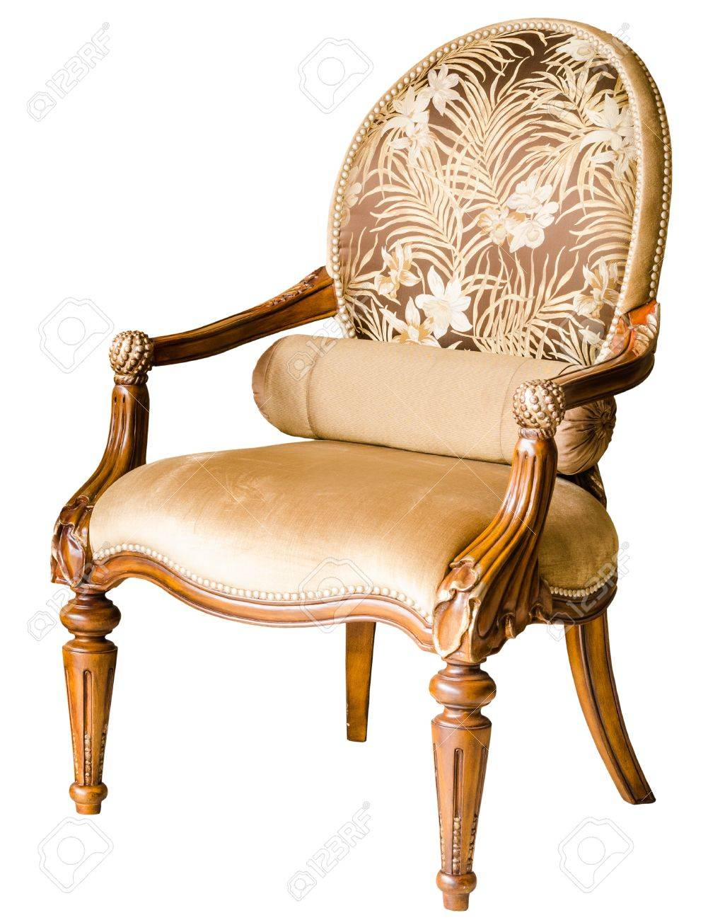 Old wooden chair styles - Stock Photo Classic Style Vintage Wooden Chair And Flower On The Table