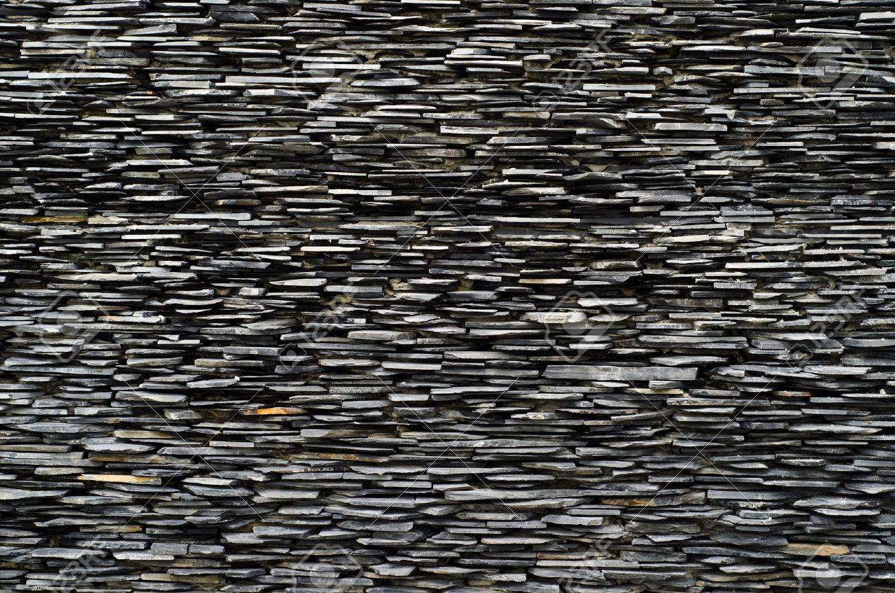 Querschnitt Muster Von Dekorativen Schiefer Wandfläche Lizenzfreie ...
