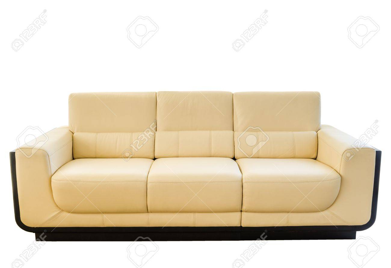 Image of a modern white cream leather sofa isolated against white background Stock Photo - 16420564