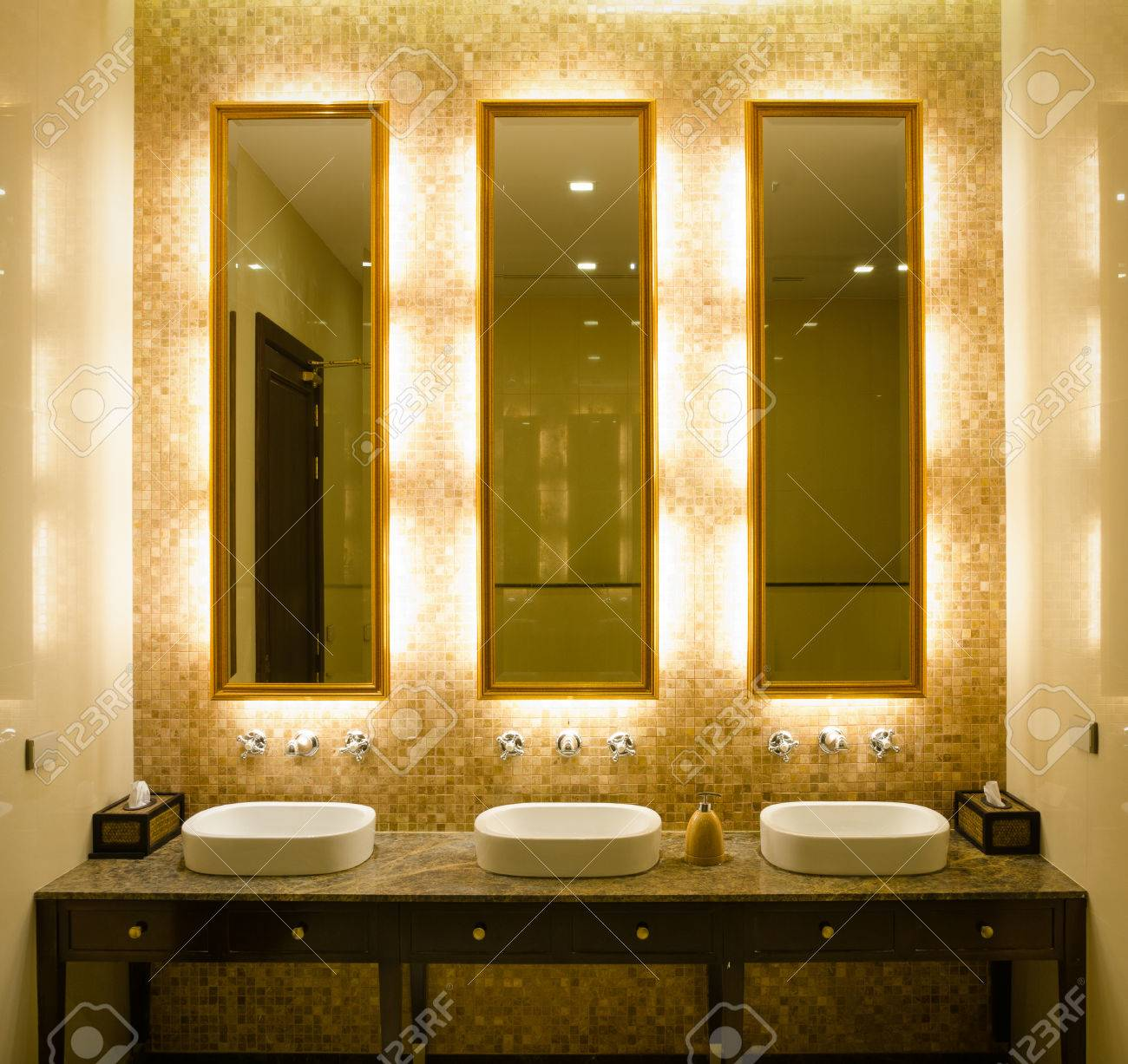 View Modern Style Interior Design Of A Bathroom. Install Bulb ...