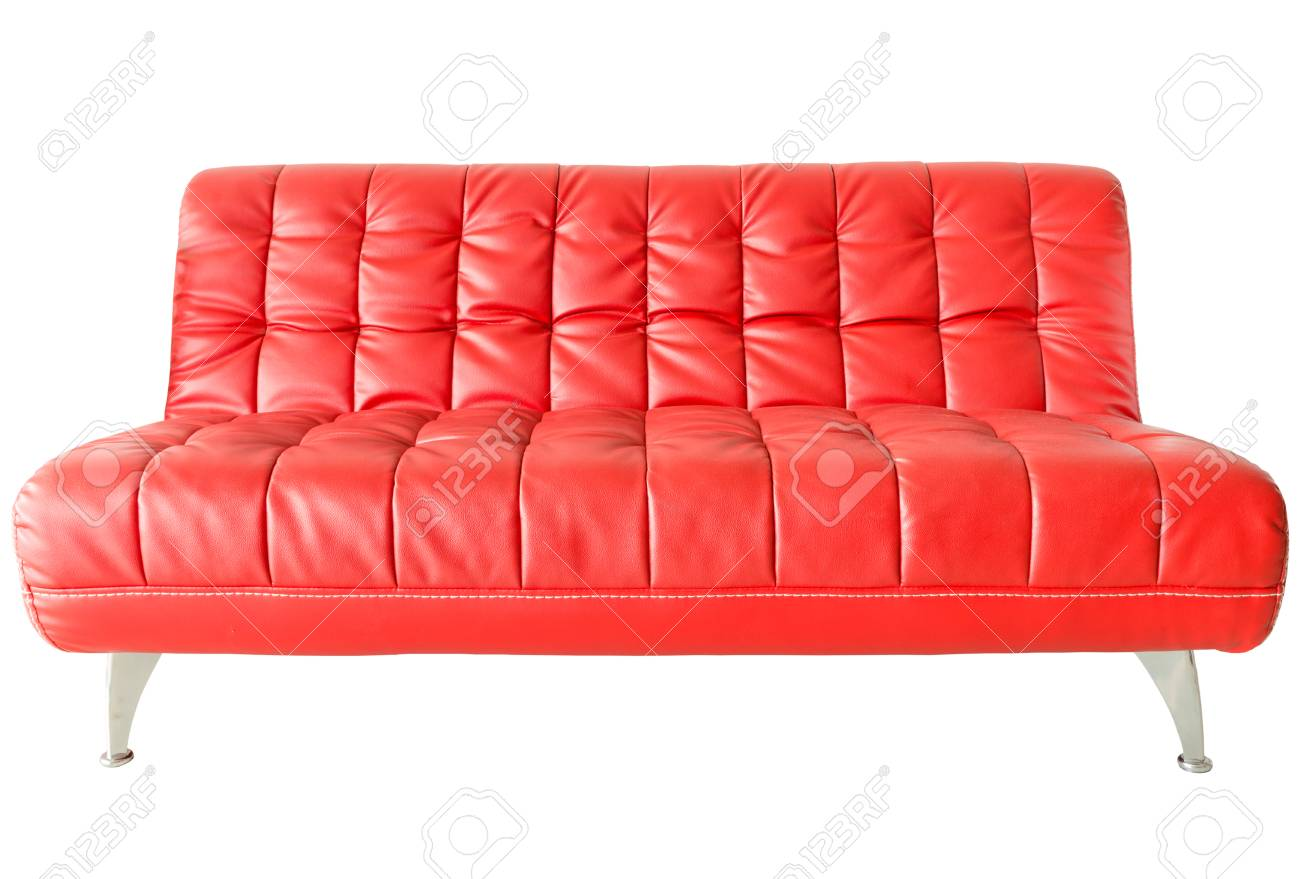 Image of a modern red leather sofa isolated against white background