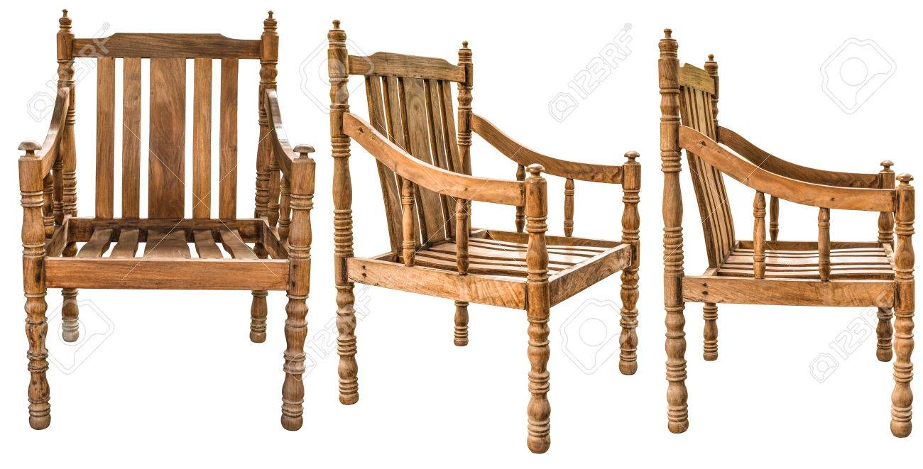 Old And Vintage Style Wooden Armchair Made From Siamese Rosewood Or Thailand Dalbergia Cochinchinensis