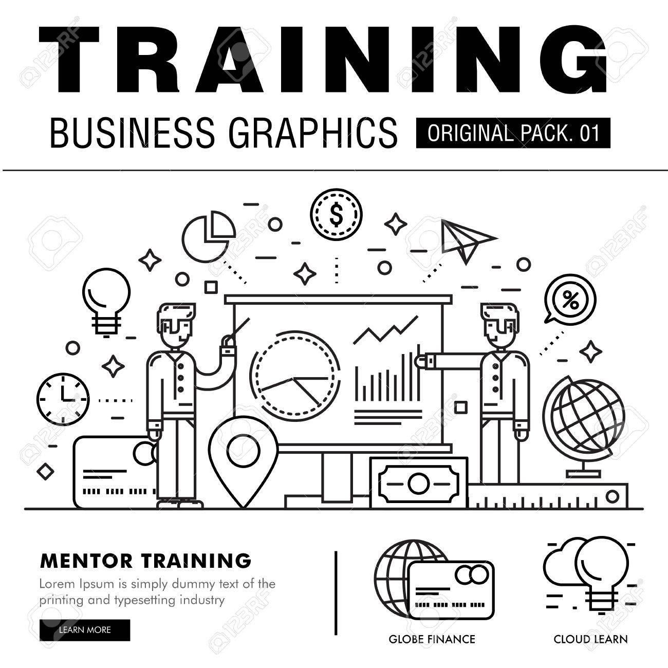 Modern business training pack  Thin line icons set mentor career
