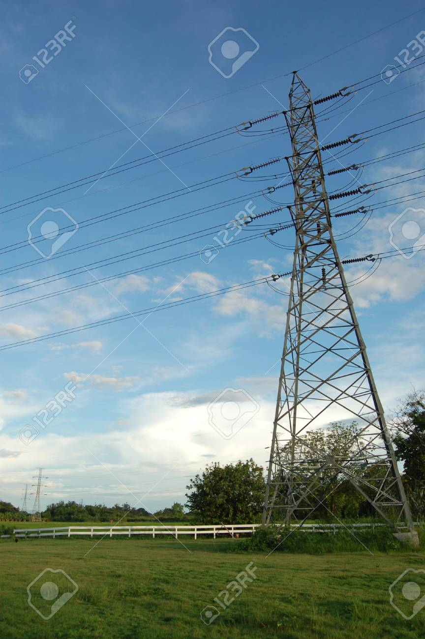 Huge pylon transfer high voltage electric front of blue sky background Stock Photo - 17238291