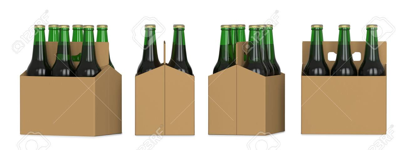Four Views Of A Six Pack Of Green Beer Bottles In Cardboard Box