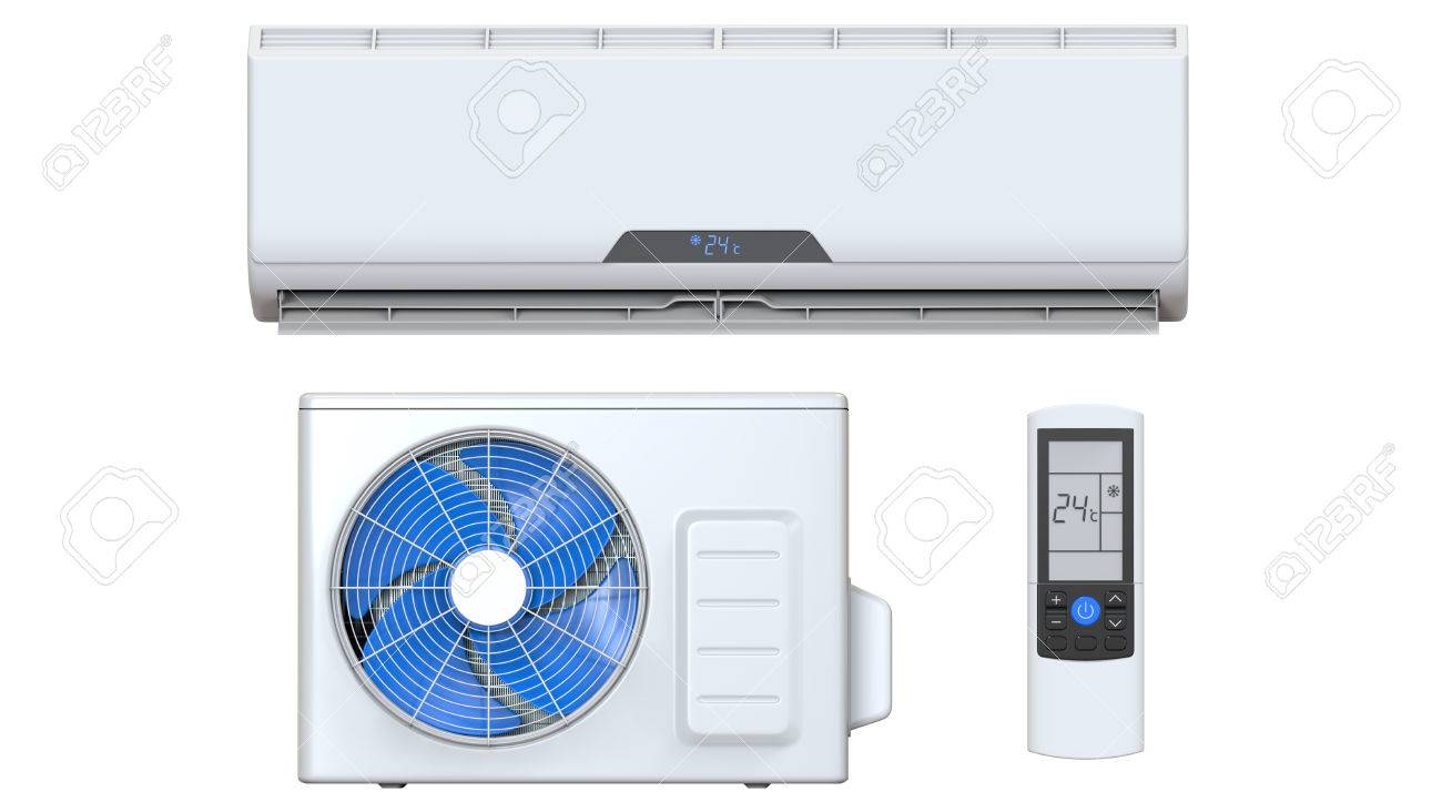 Air Conditioner System Set With Remote Control And External Unit. 3D  Render, Isolated On
