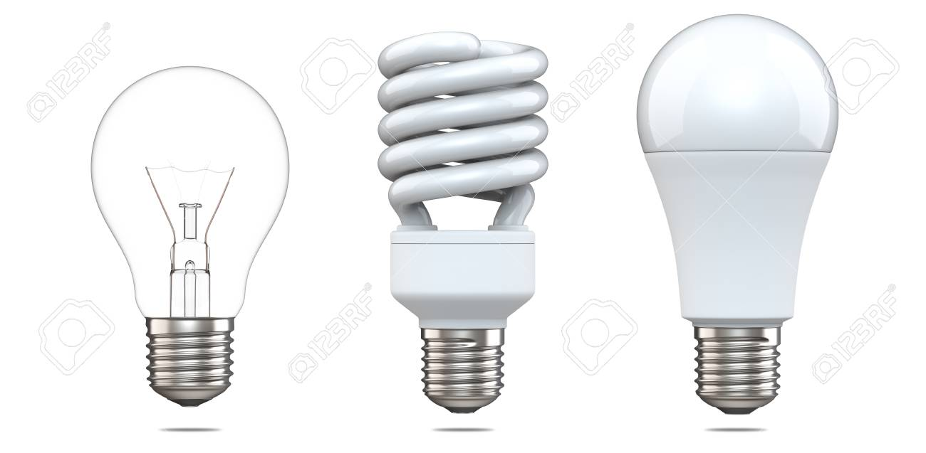 3d Rendering Set Of Tungsten Bulb, Fluorescent Bulb And LED Bulb... Stock Photo, Picture And Royalty Free Image. Image 89922821.