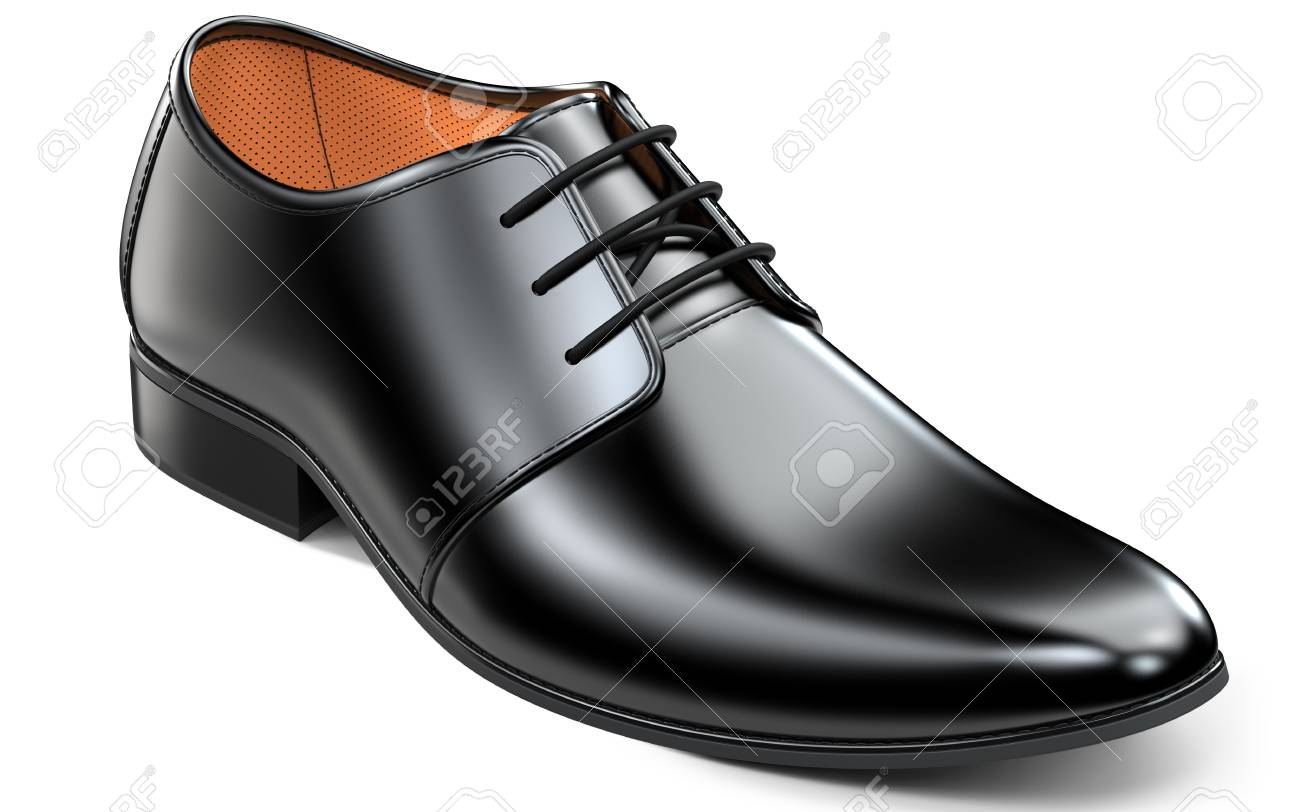 398d833b4 Beautiful black leather shoes for men. Classic office footwear 3d rendering  isolated on white background