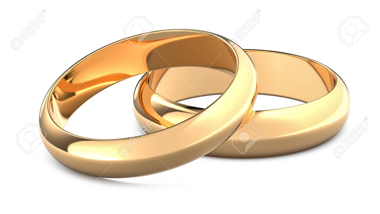 Two golden weddings rings as a symbol of marriage and wedding. 3D rendering illustration of gold rings isolated white background. - 147700321