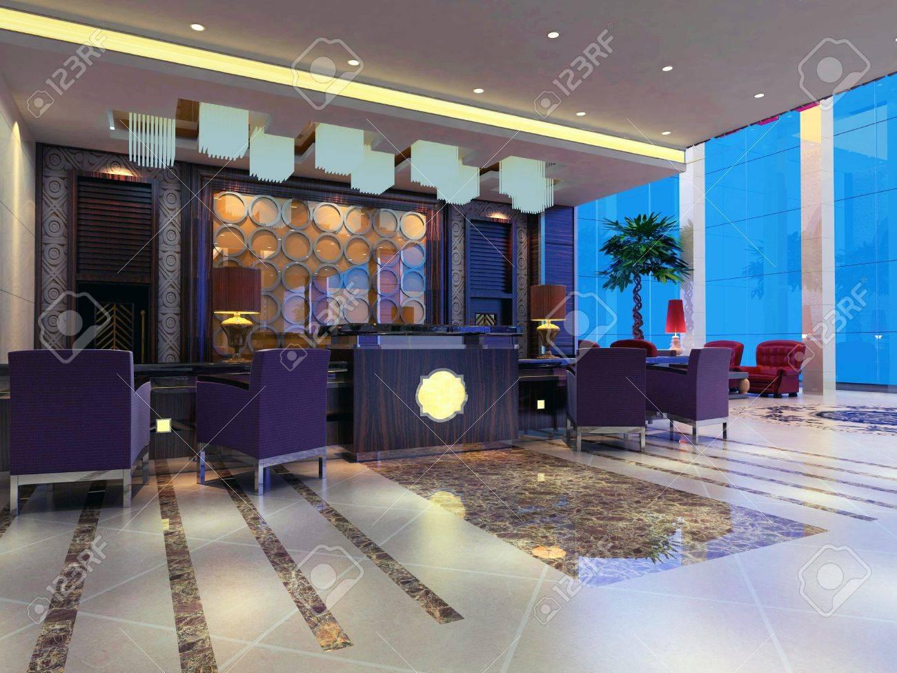 Modern design interior of reception hall. 3d render Фотография