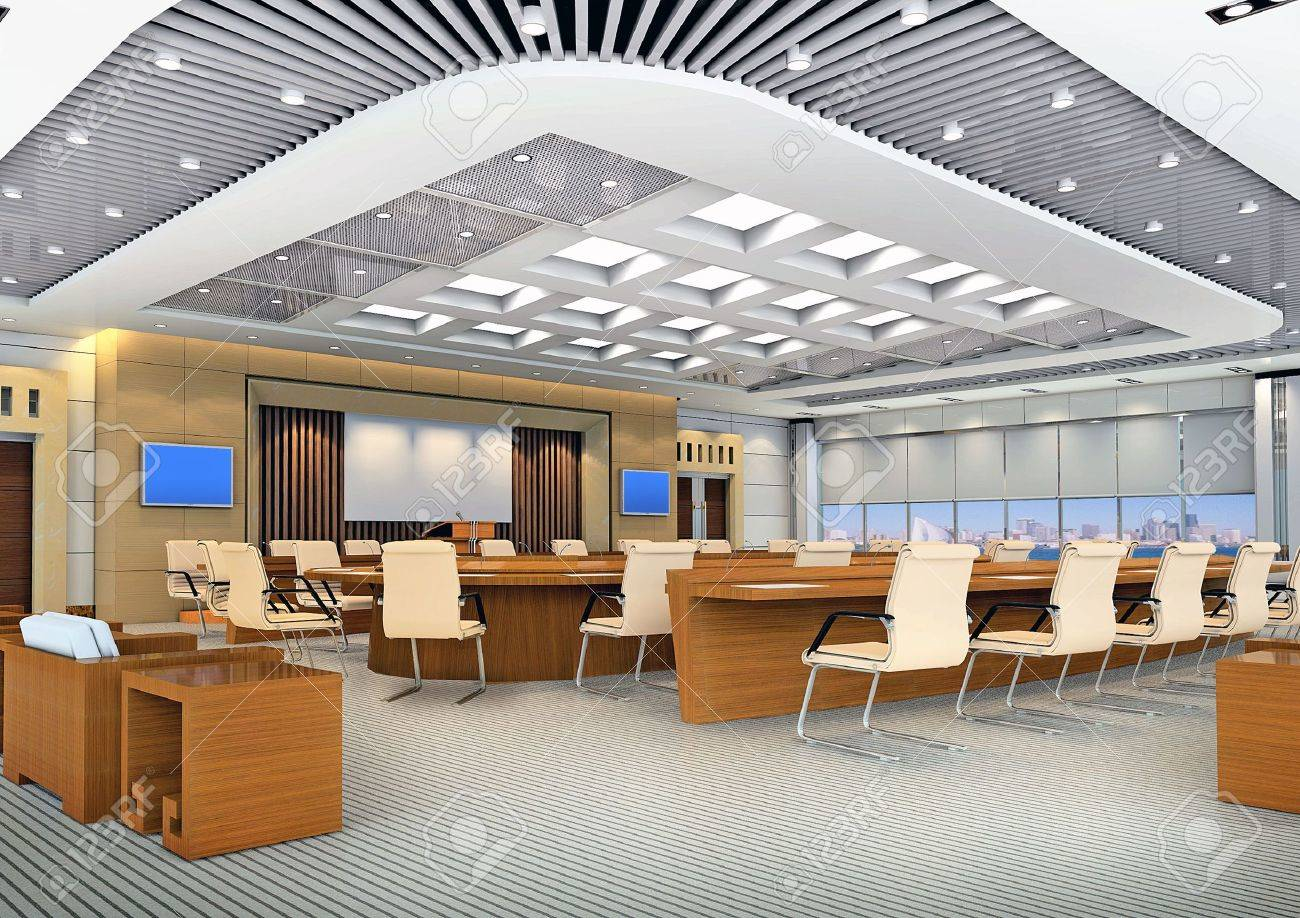 the computer generated 3d image of the modern conference hall Stock Photo - 4949383