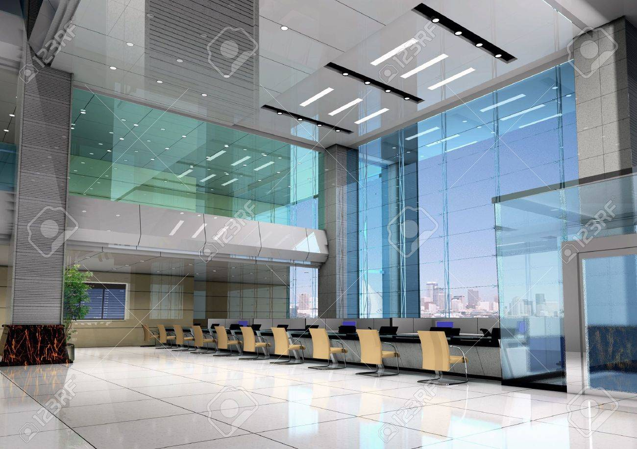 Modern Design Interior Of Business Hall. 3D Render Stock Photo ...