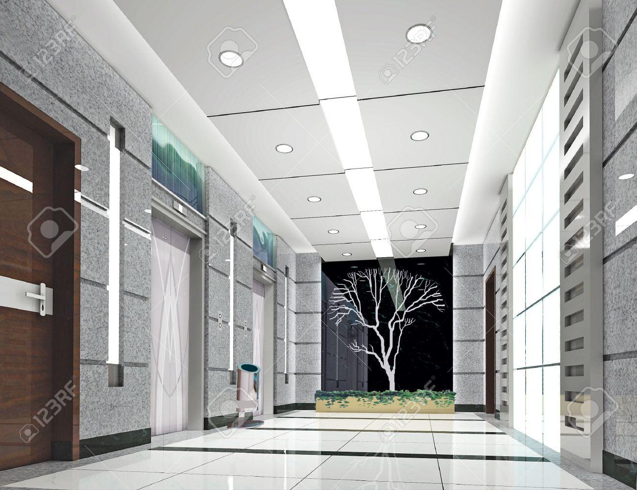 modern design interior of elevator lobby. 3D render Stock Photo - 4949382