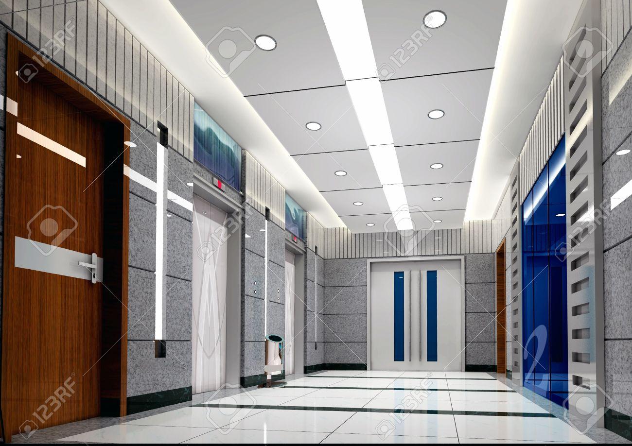 Modern Design Interior Of Elevator Lobby. 3D Render Stock Photo ...