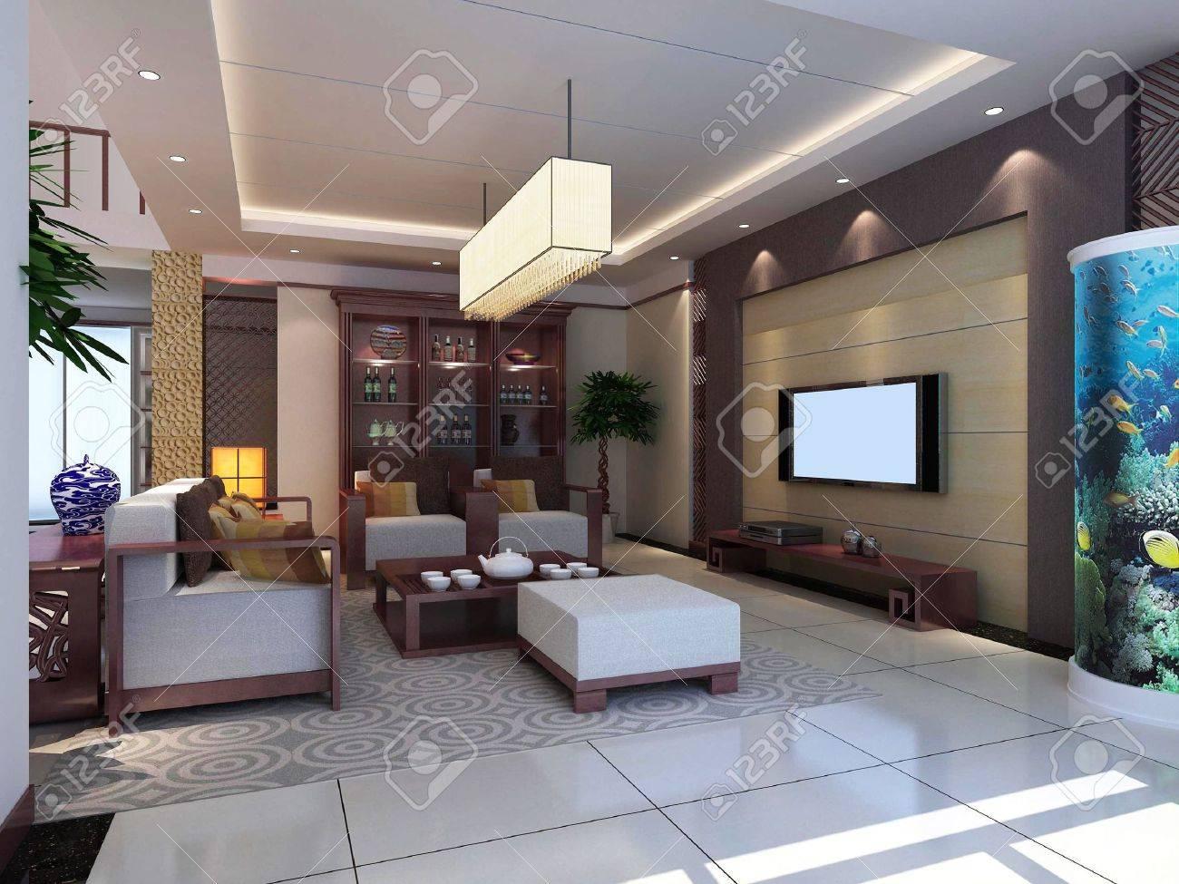 Interior de diseño moderno de salón-comedor. 3D render