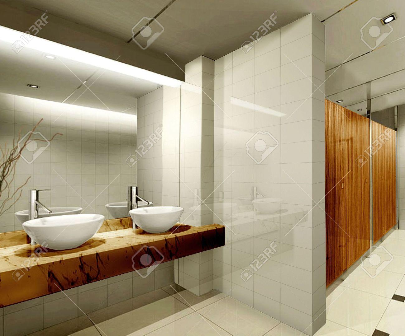 Modern Design Interior Of Stylish Bathroom 3D Render Stock Photo