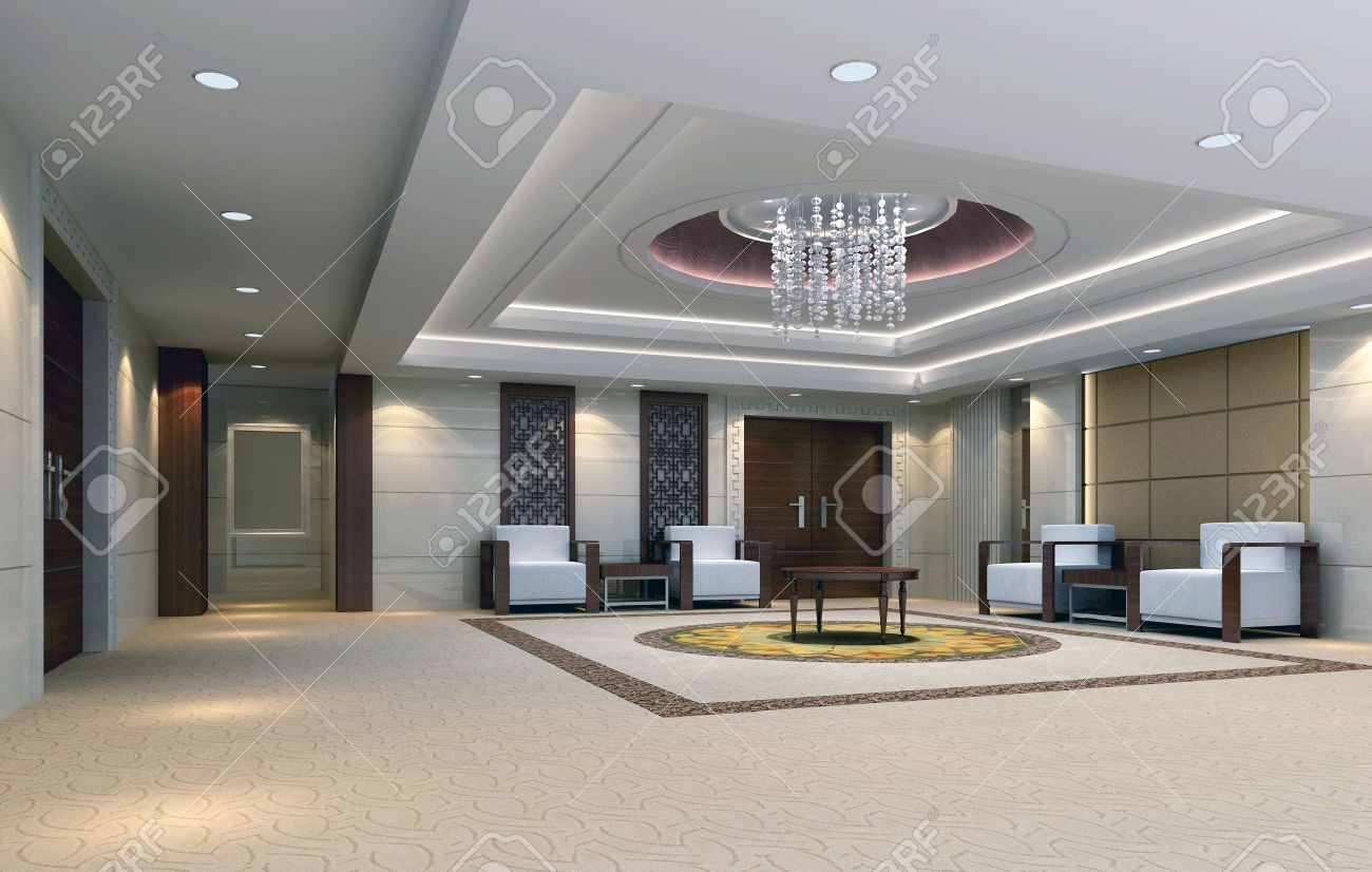 3d reception room rendering. meeting room Stock Photo - 6867607