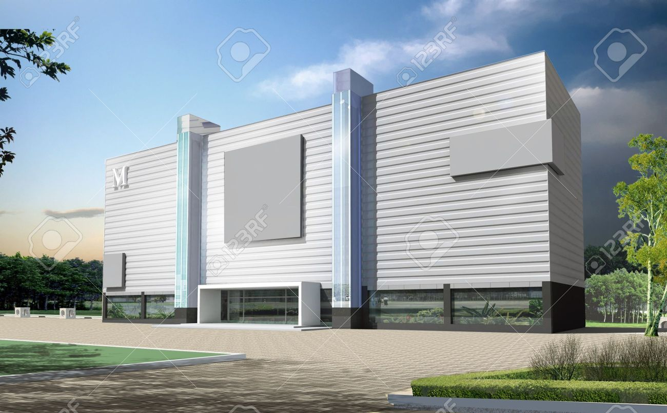 3d construction of office building Concept
