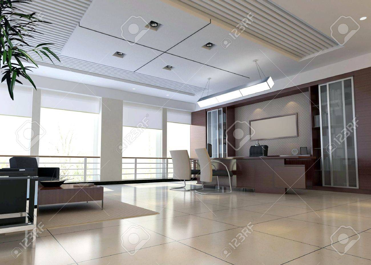 an office room with nobody. 3D render Stock Photo - 7154853