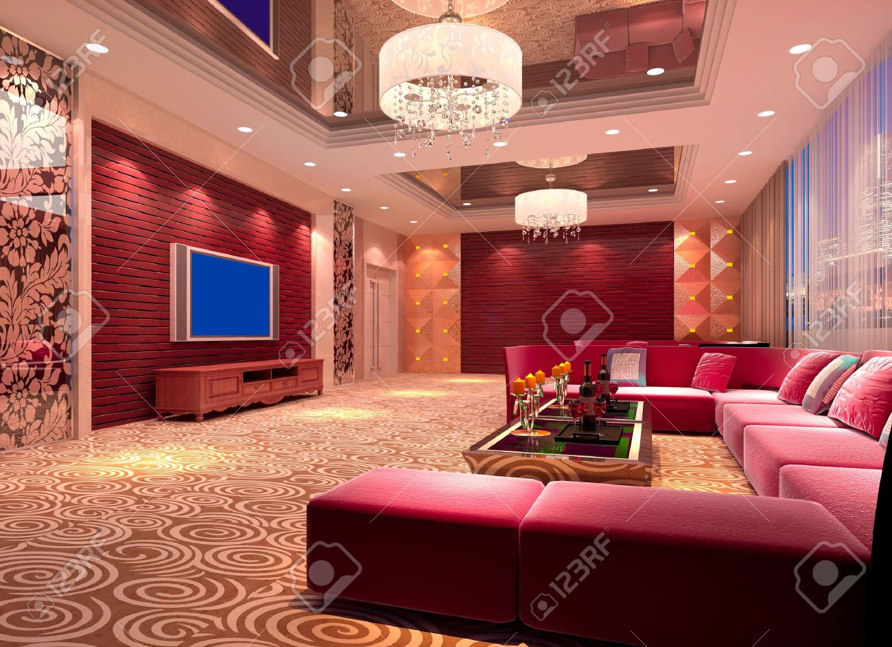Modern Design Club Of Room, Hall. 3D Render Stock Photo, Picture And ...
