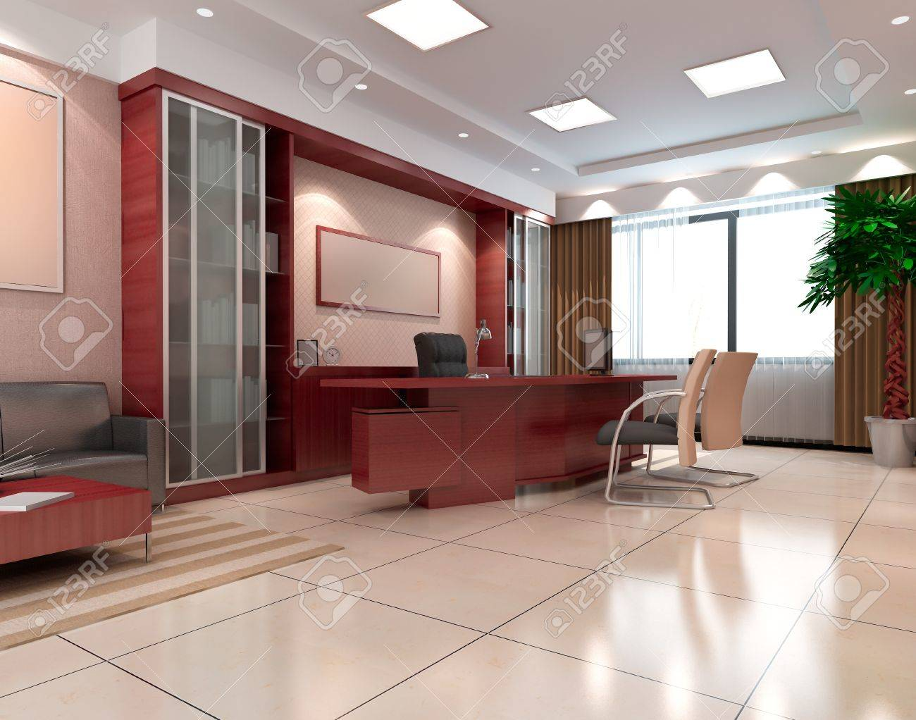 an office room with nobody. 3D render Stock Photo - 8539853