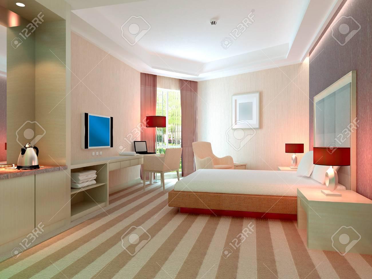modern design interior of bedroom, hotel rooms. 3D render Stock Photo - 8999850