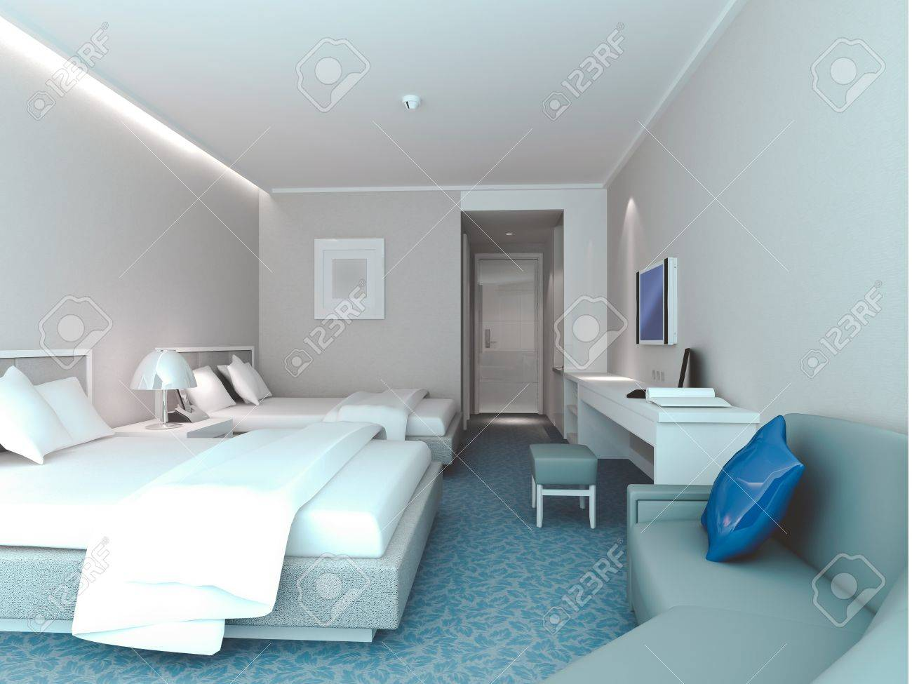 Modern Design Interior Of Bedroom Hotel Rooms 3d Render Stock Photo Picture And Royalty Free Image Image 8999821