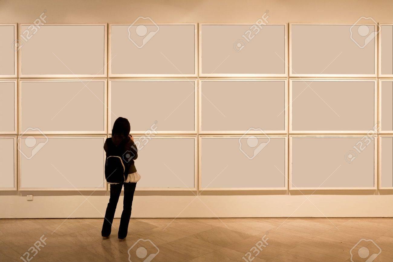 shanghai art gallery, girl look at the blank frame Stock Photo - 9260474