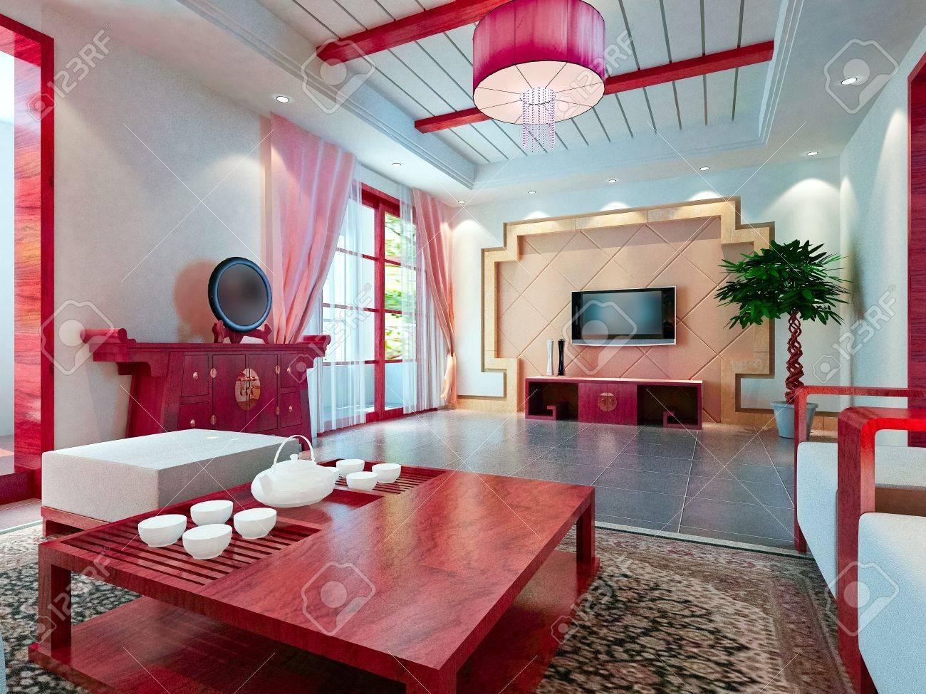 Modernes Design Innenraum Wohnzimmer. 3D übertragen Lizenzfreie ...