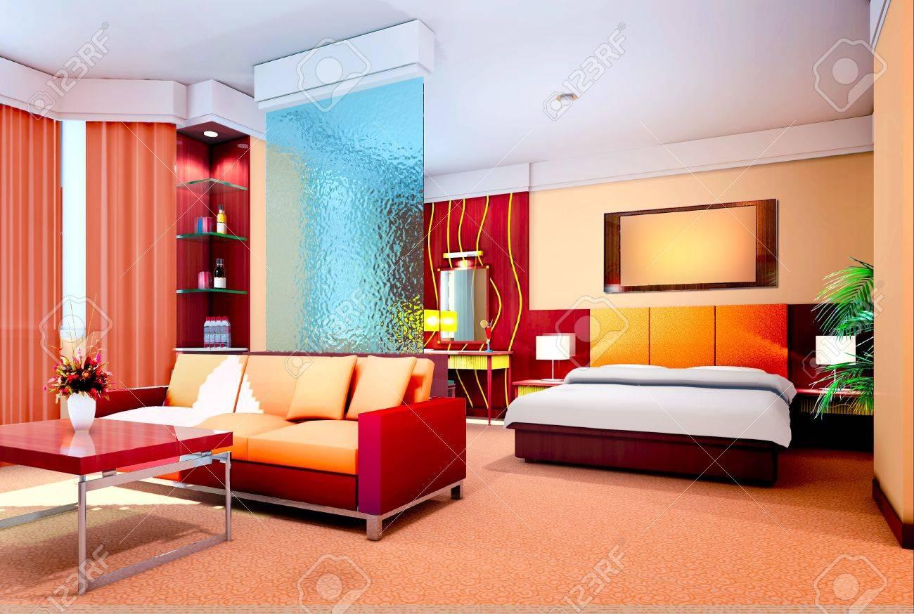 Design d'intérieur moderne de chambre à coucher et salon de rendu ...