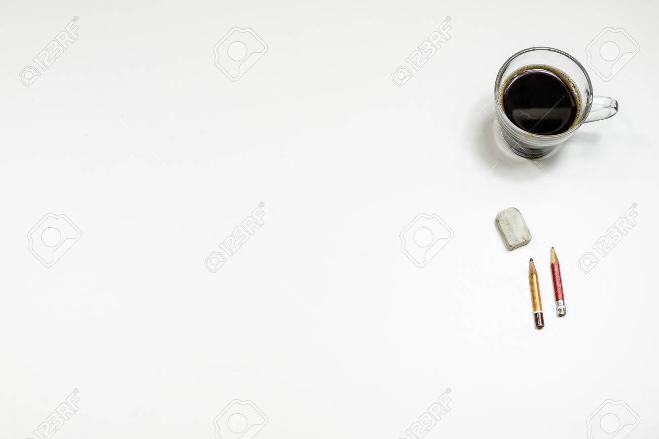 Immagini Stock Caffè E Schizzi Per I Disegni Tavolo Bianco