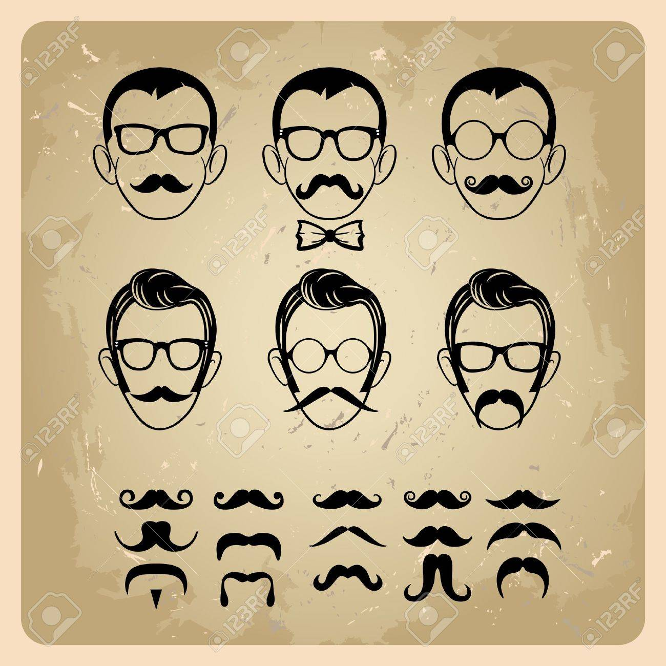 Faces with Mustaches, sunglasses,eyeglasses and a bow tie - vector illustration Stock Vector - 15227493