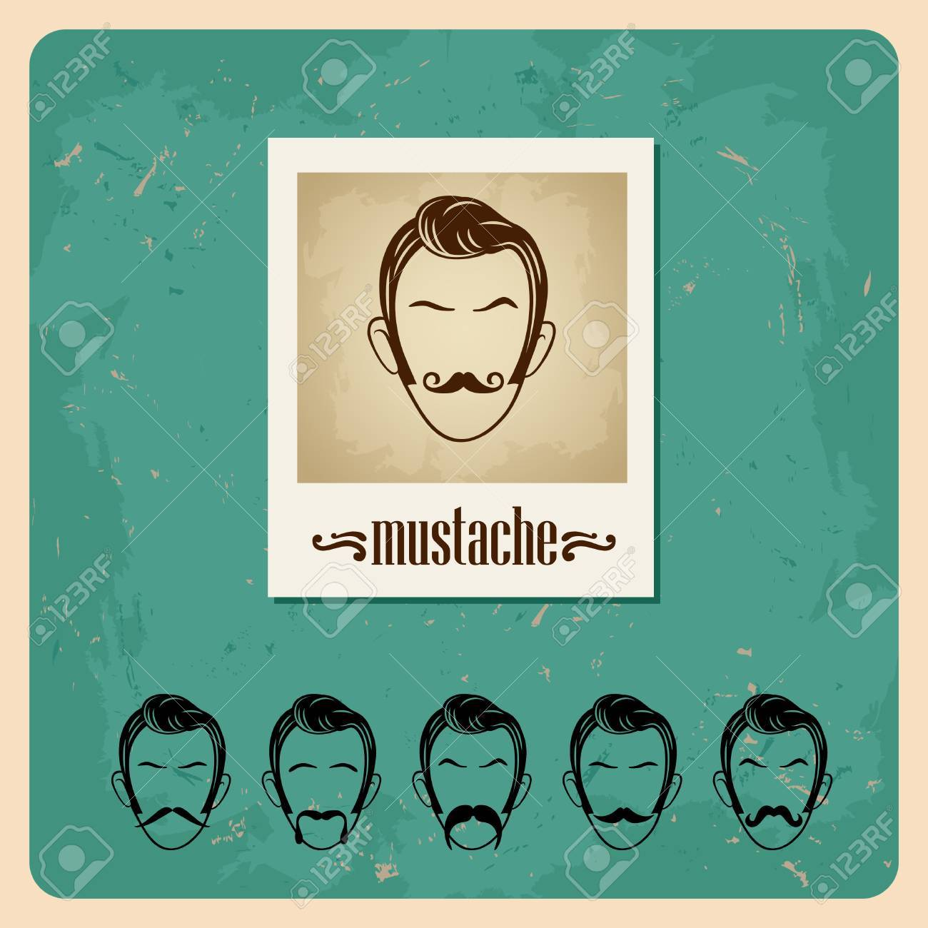 set of vector illustration faces with mustaches Stock Vector - 15227494