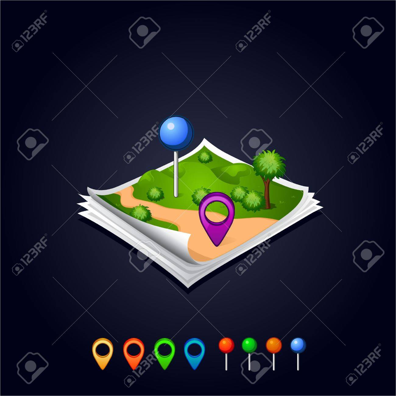 map with GPS icons and sheets paper Stock Vector - 15658147