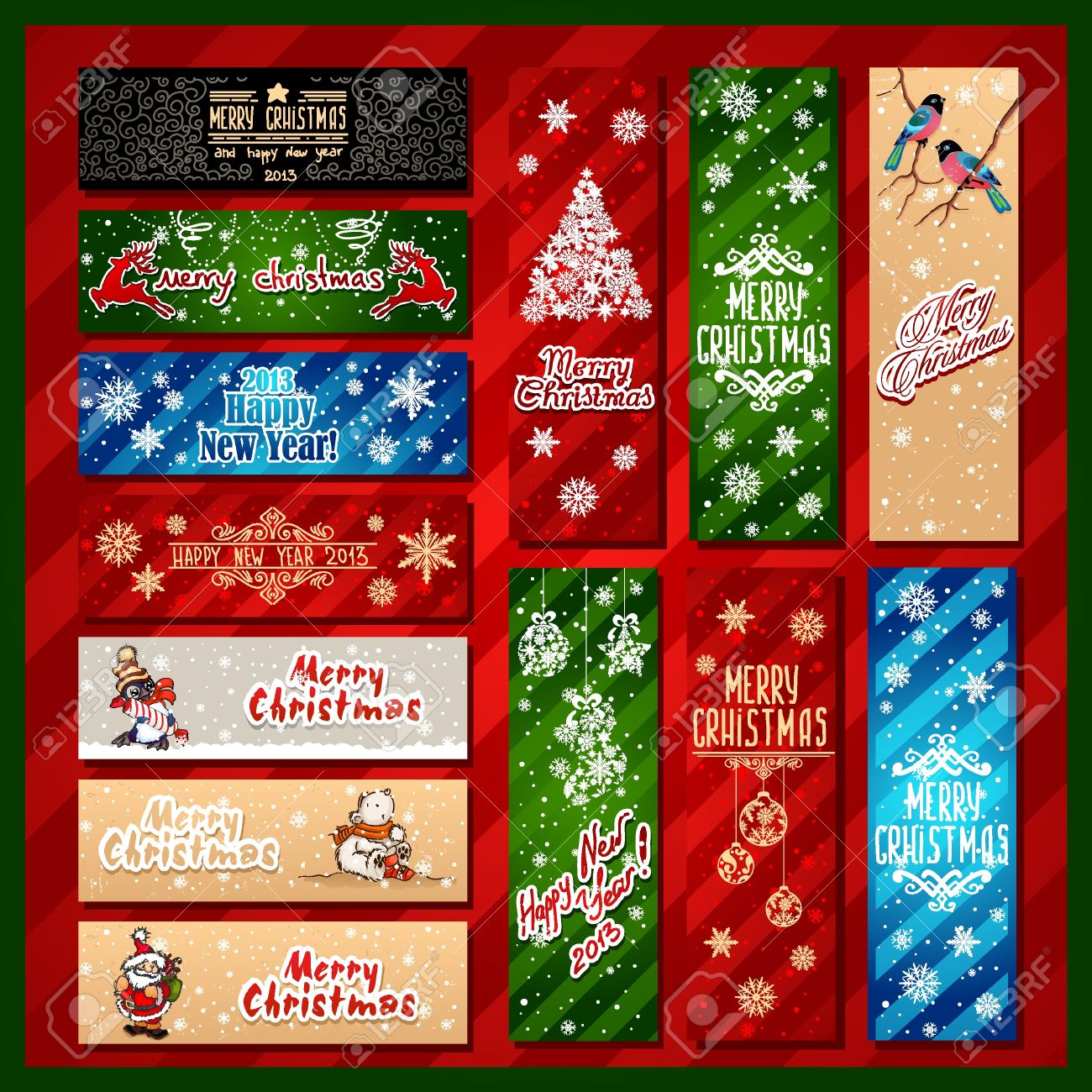 Merry Christmas, Banner Design Background Set Royalty Free ...