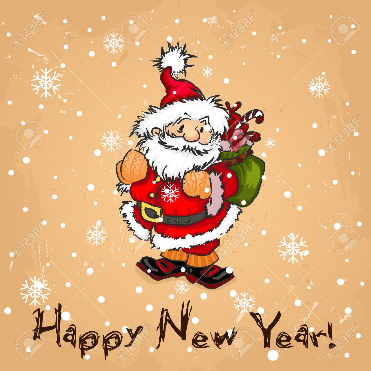 Immagini Babbo Natale Vintage.Babbo Natale Sul Vintage Background Buon Natale Buon Natale Cartolina Retro Cartolina Babbo Mano Pupazzi Di Neve Polar Bear Pareggio