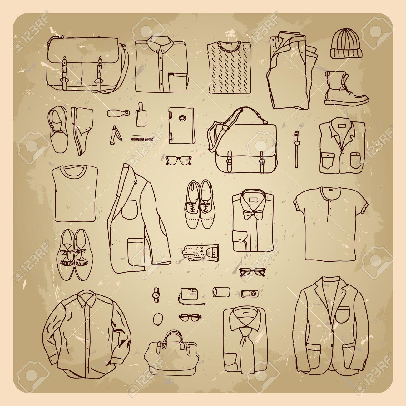 1897c8cc285f2d Männer Kleider Skizzen Herrenmode Kleidung und Accessoires Standard-Bild -  17936450