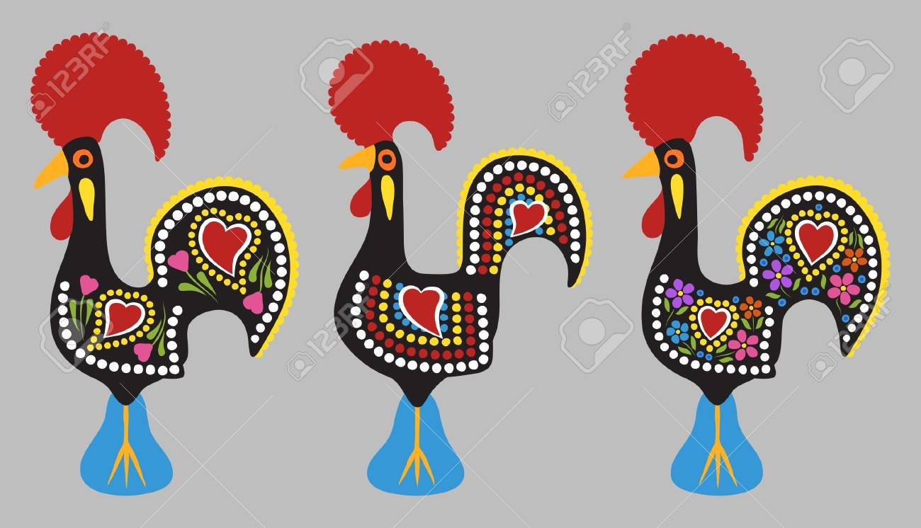 Rooster of Barcelos cartoon style - 110725910