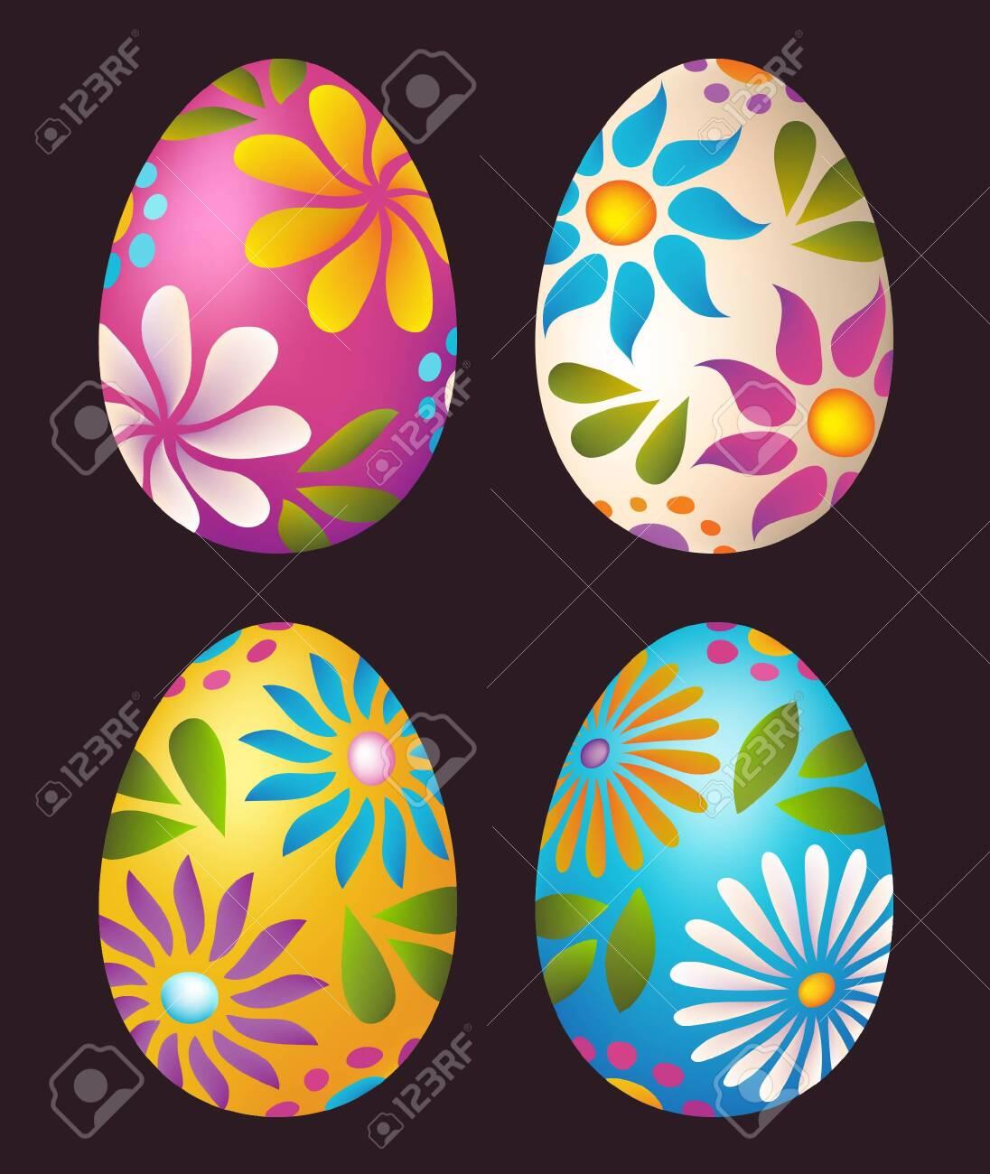 Easter Eggs floral colorful design - 110725916