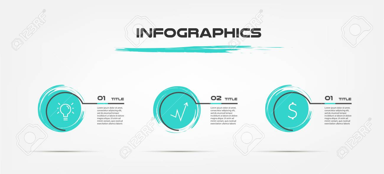 watercolor brush blue infographics some of chart graph parts