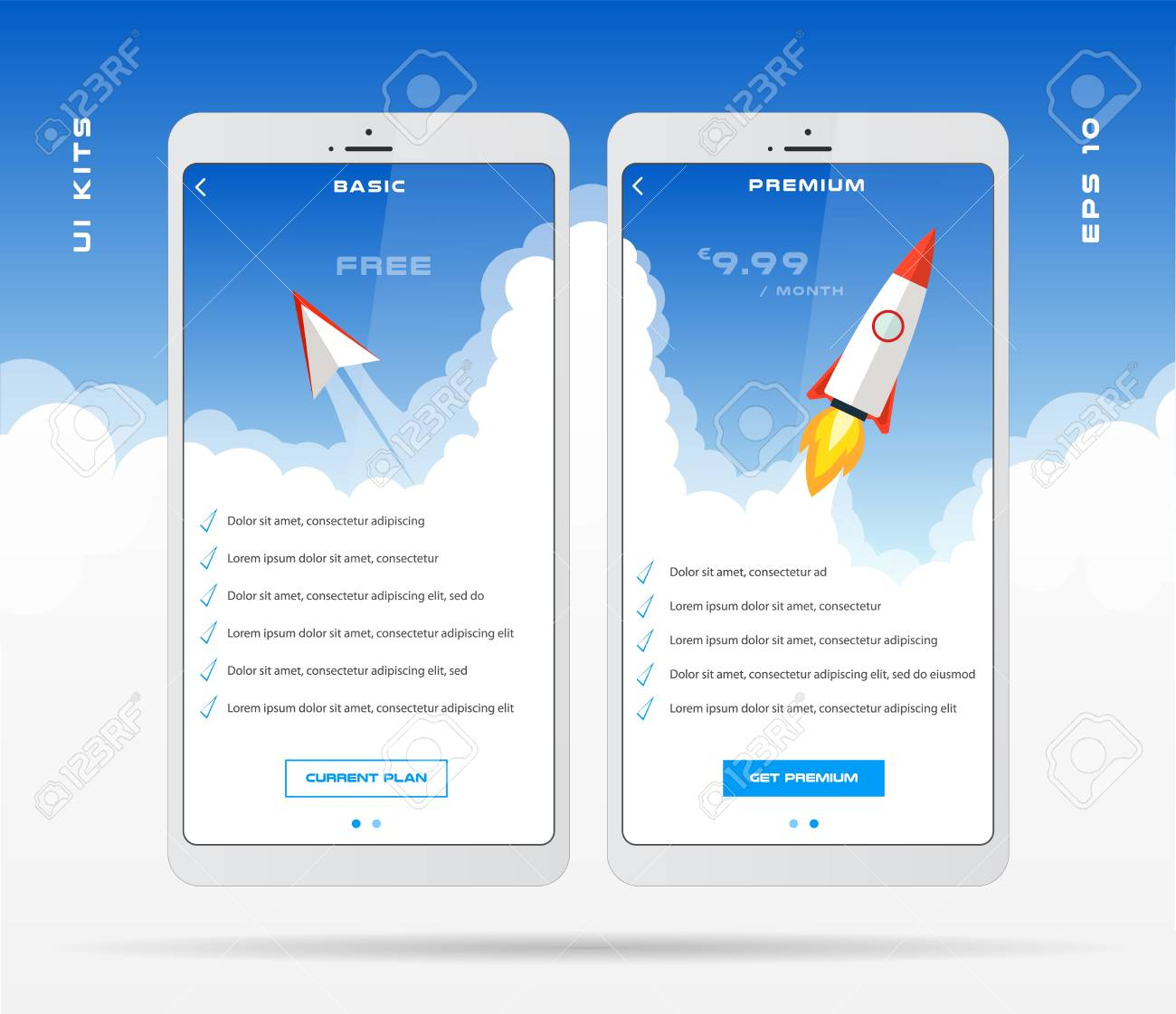 Mobile App Design Template For Price List Set, Tariff Plan, Pricing Table  For Business