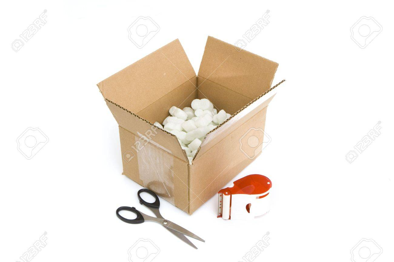 shipping supplies isolated against white background Stock Photo - 3909109