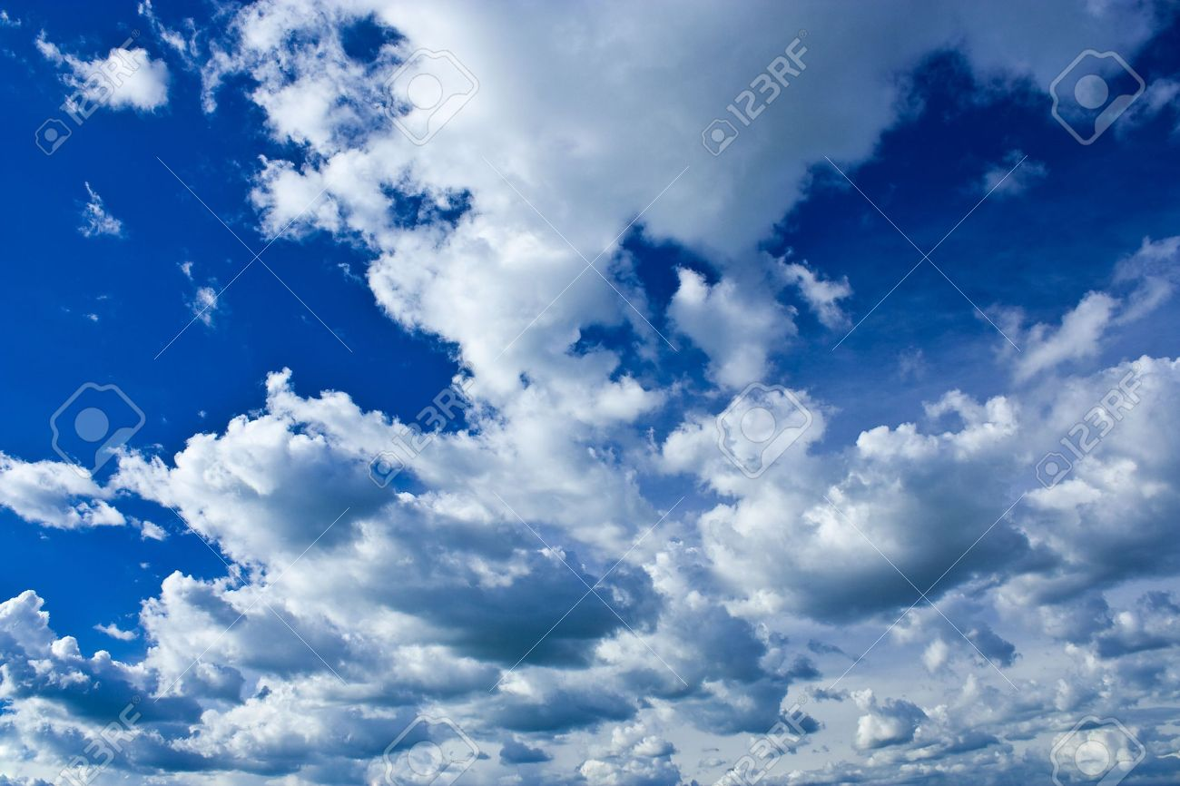 Background with beautiful blue sky and fluffy clouds Stock Photo - 3084116