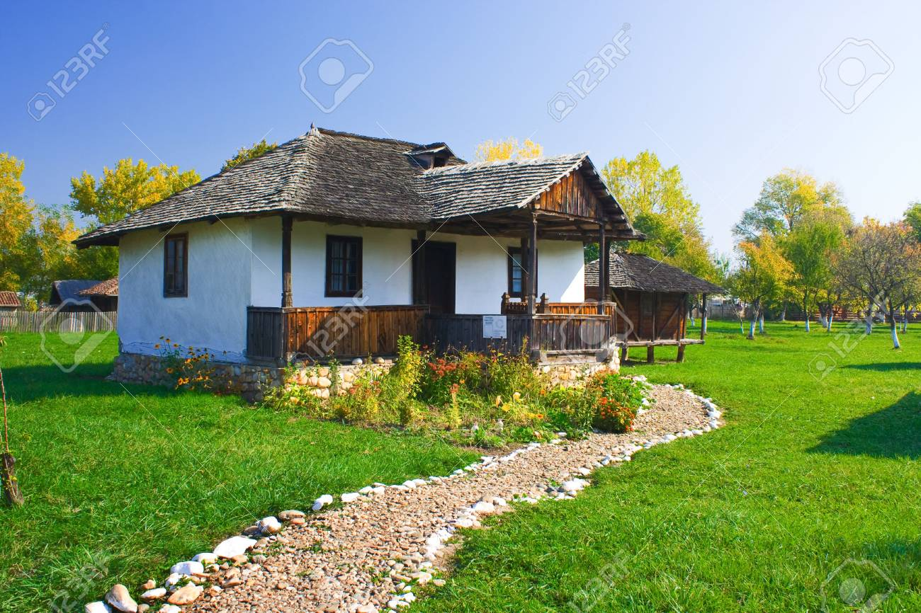An old house with a long cobble ride in front from Romania Stock Photo - 3805881