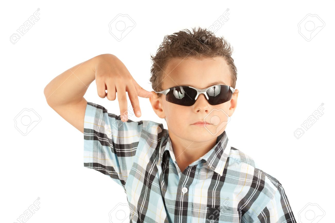 5215cc69912f Cool and trendy kid with sunglasses isolated over white background Stock  Photo - 5321245