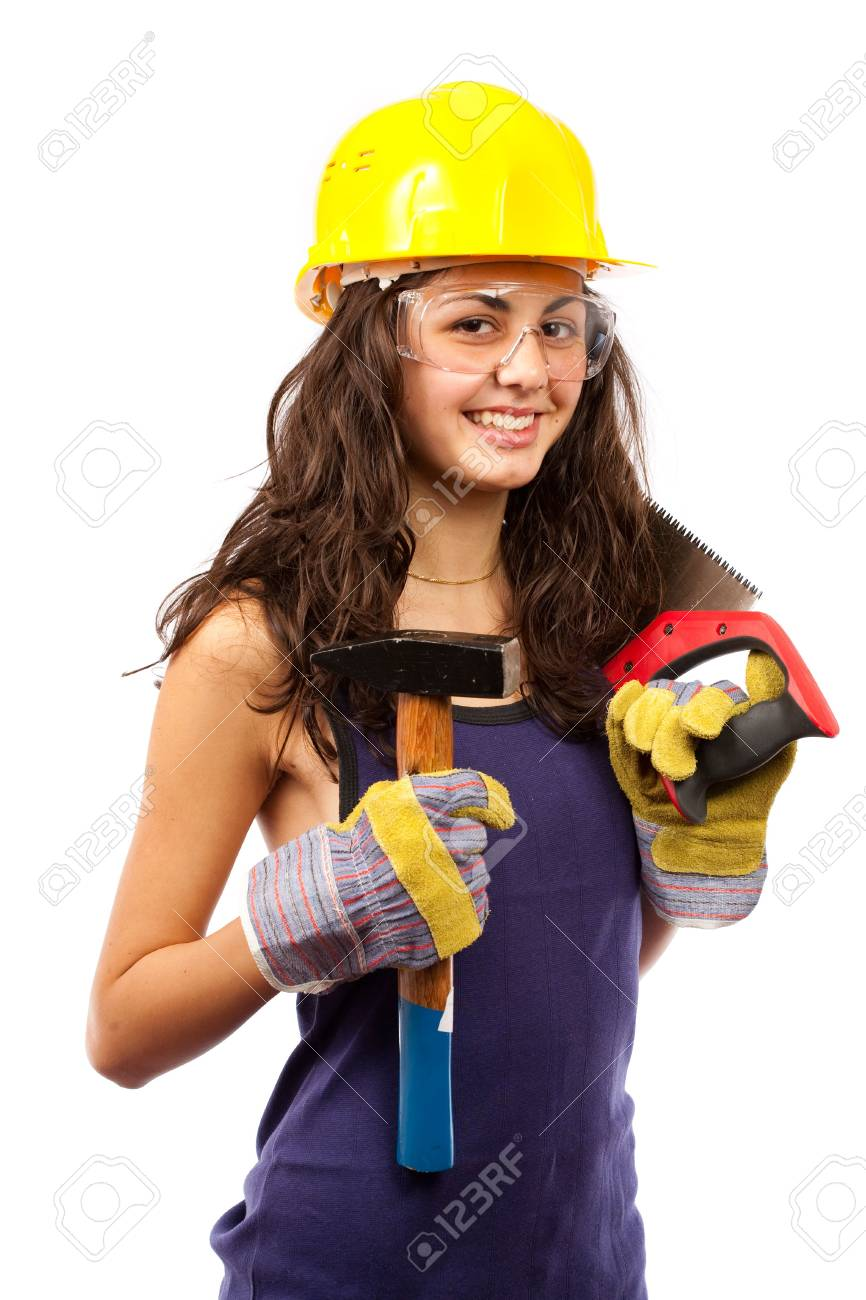 Beautiful latino construction worker woman isolated on white background Stock Photo - 5726003