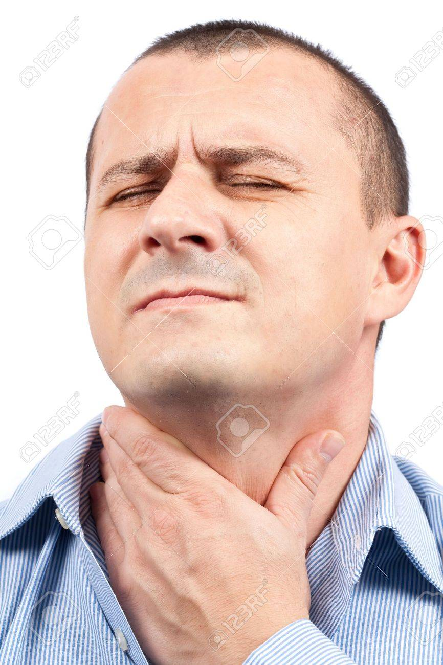 Young man with throat pain isolated on white background Stock Photo - 5906763