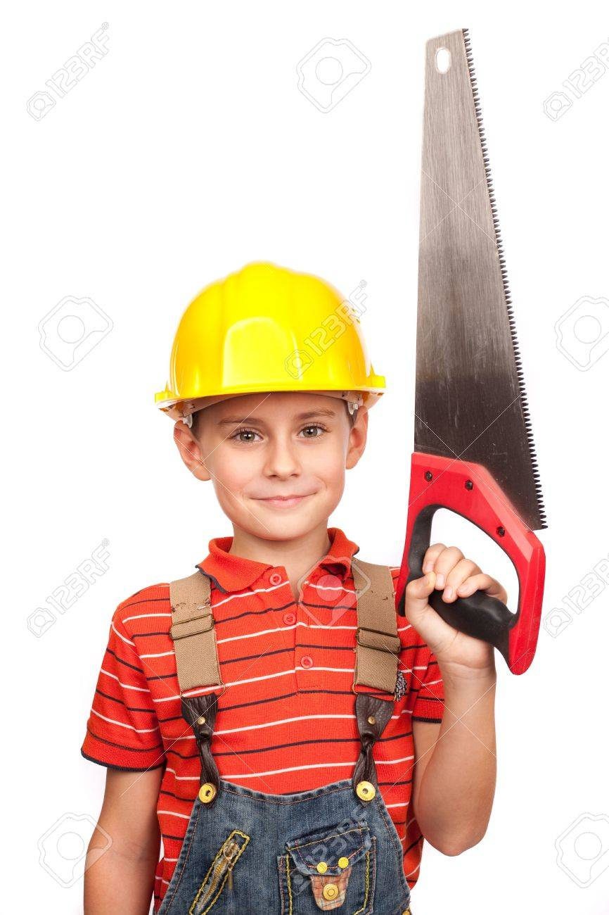 Portrait of a cute kid posing as a carpenter, with a handsaw Stock Photo - 6074772