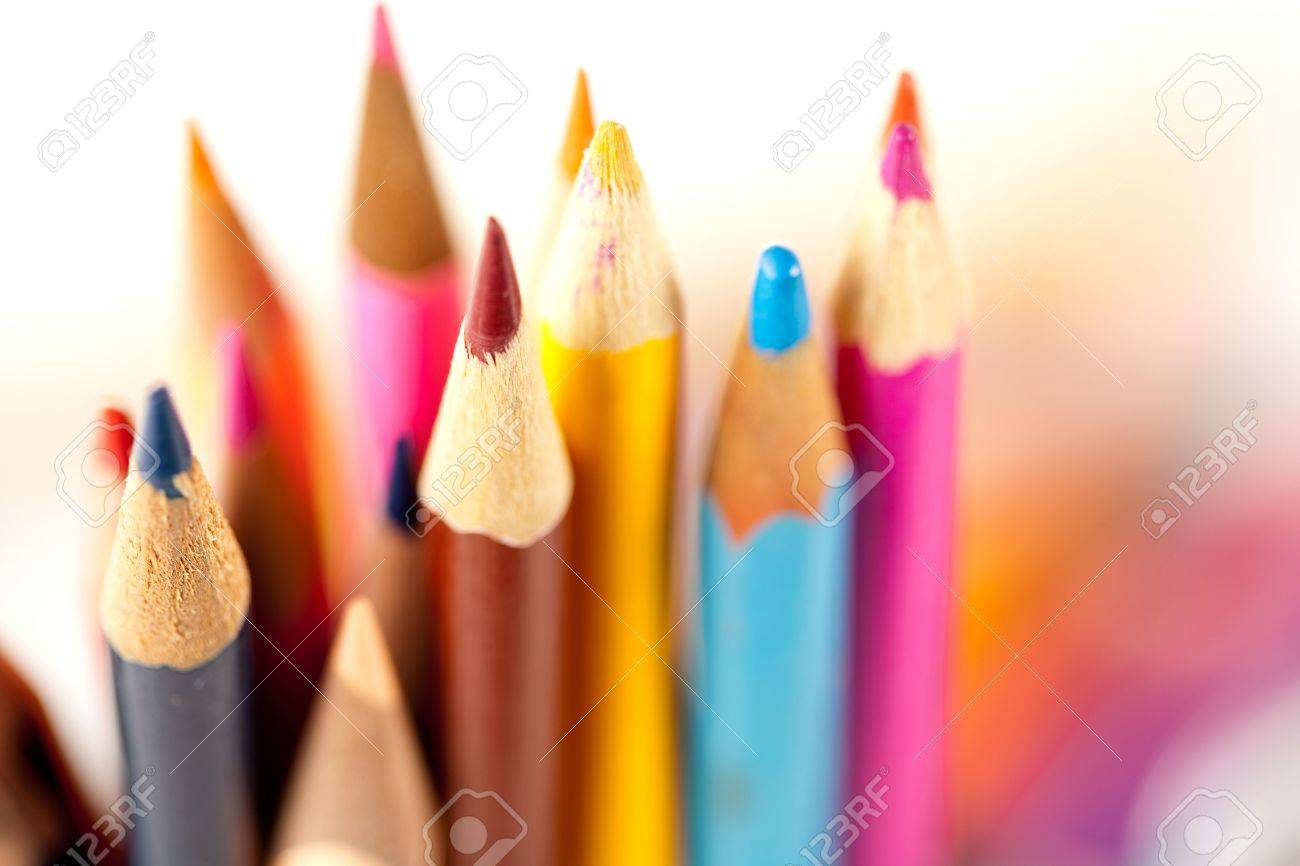 Close up of many pencils over blurred background, shallow depth of field Stock Photo - 6339563