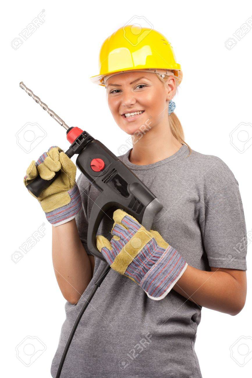 Attractive young lady worker with a pneumatic drilling machine isolated on white Stock Photo - 7365866